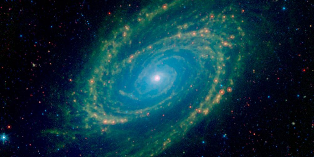The magnificent spiral arms of the nearby galaxy Messier 81 are highlighted in this image from NASA's Spitzer Space Telescope. This Spitzer infrared image is a composite mosaic combining data from the Infrared Array Camera (IRAC) at wavelengths of 3.6/4.5